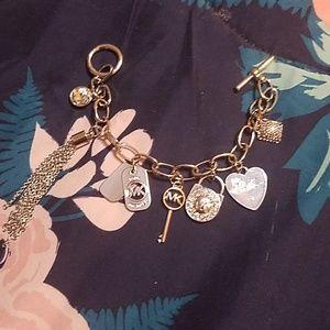 8 Piece Michael Kors Silver Charm Link Bracelet